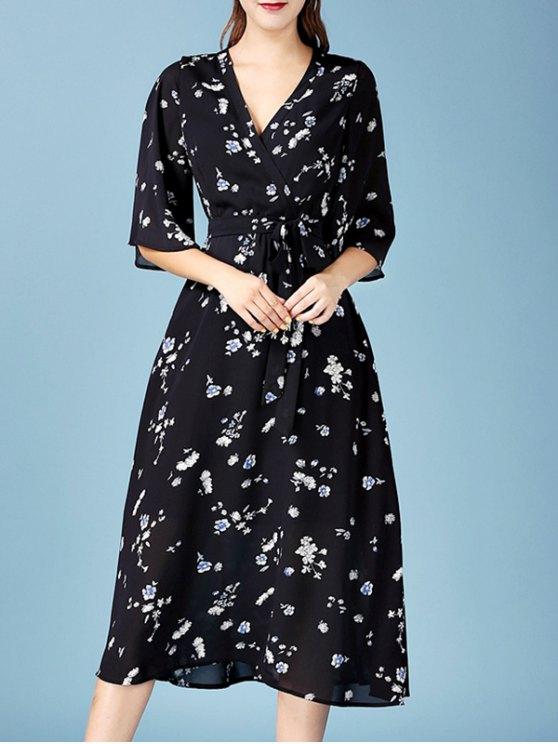 Tiny Floral Print V Neck 3/4 Sleeve Chiffon Dress - BLACK M Mobile