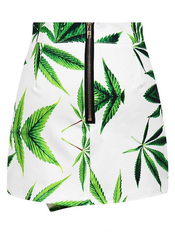 Leaf Print Asymmetric Slit Skirt - WHITE ONE SIZE Mobile