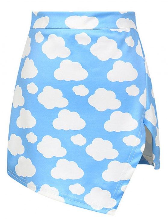 Cloud Print Asymmetric Slit Skirt - AZURE ONE SIZE Mobile