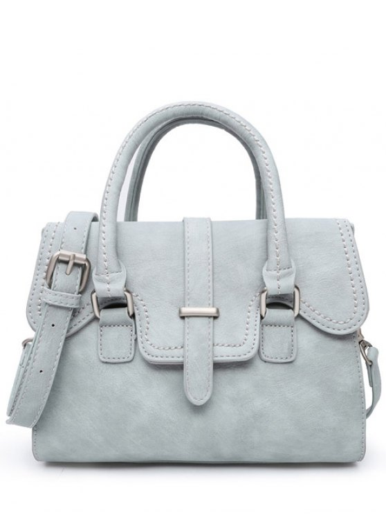 unique Metal PU Leather Magnetic Closure Tote Bag - BLUE GRAY