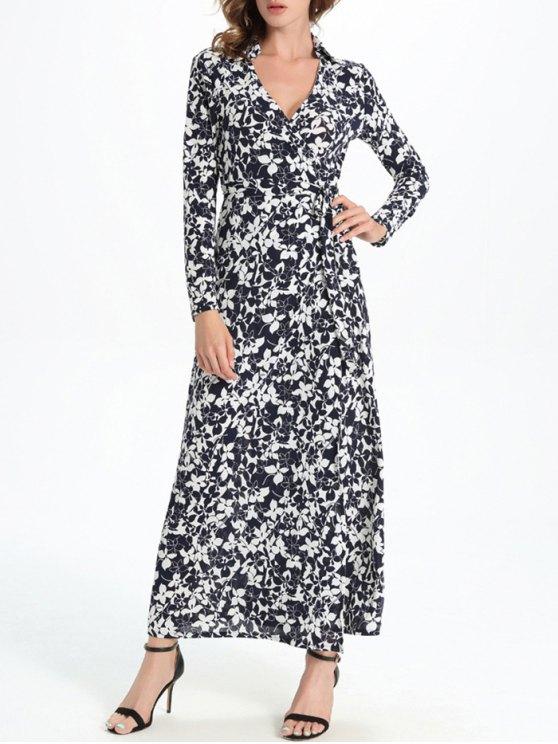 chic Allover Print Maxi Wrap Dress - WHITE AND BLACK L