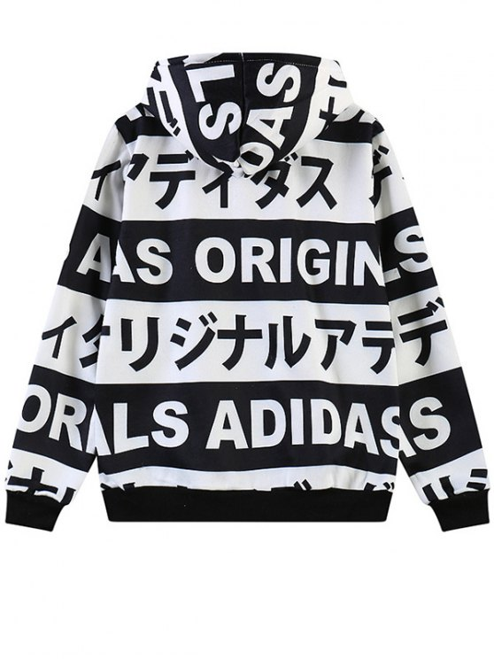 Letter Print Fleece Hoodie - WHITE ONE SIZE Mobile