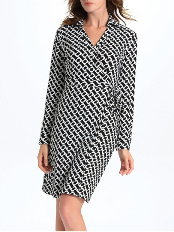 trendy Geometric Print Long Sleeve Midi Wrap Dress - WHITE AND BLACK L