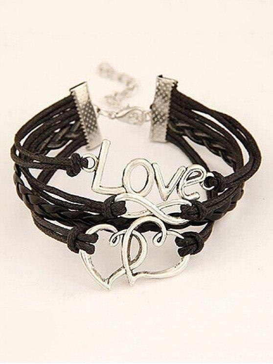 Interlink Heart Braided Bracelet - BLACK  Mobile