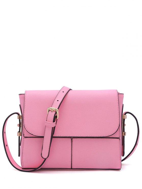 womens Textured PU Leather Metallic Crossbody Bag - PINK