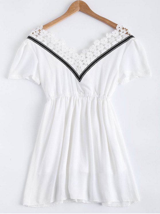 Lace Splice V Neck Chiffon Dress - WHITE L Mobile