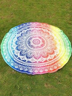 Colorful Mandala Chiffon Round Beach Throw