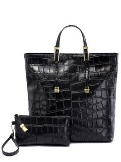 Crocodile Embossed Metal Buckle Tote Bag - Black