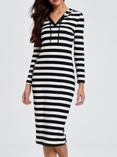 Hooded Striped Midi Dress With Sleeves - Black L