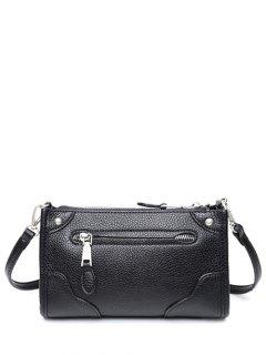 Zips Textured PU Leather Crossbody Bag - Black