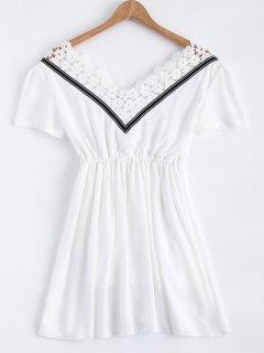Lace Splice V Neck Chiffon Dress - White M