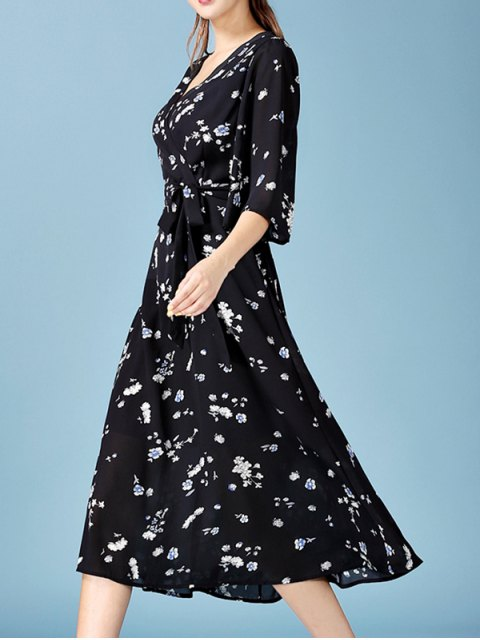 affordable Tiny Floral Print V Neck 3/4 Sleeve Chiffon Dress - BLACK M Mobile