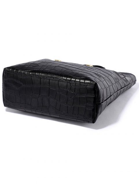 outfits Crocodile Embossed Metal Buckle Tote Bag - BLACK  Mobile
