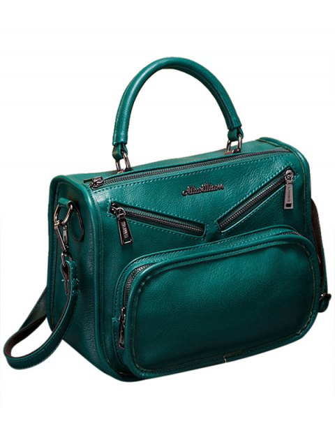 unique Metal PU Leather Zippers Crossbody Bag - GREEN  Mobile