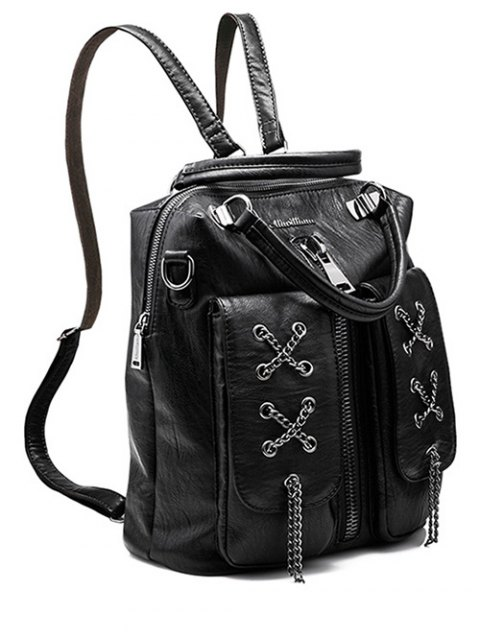 chic Chains Zippers PU Leather Backpack - BLACK  Mobile