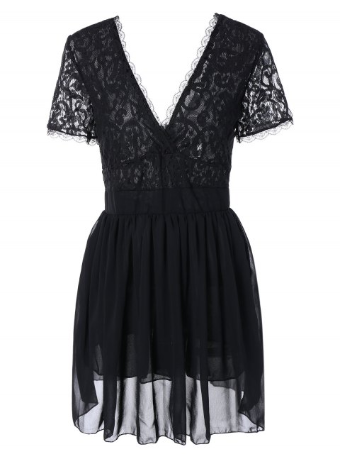 outfits Lace Spliced Plunging Neck Sexy Birthday Dress - BLACK M Mobile