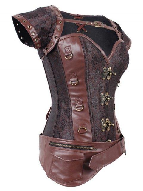 outfit Zipper Buckle Design Asymmetric Corset - DEEP BROWN 4XL Mobile
