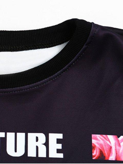online Floral Letter Print Cropped Sweatshirt - BLACK ONE SIZE Mobile