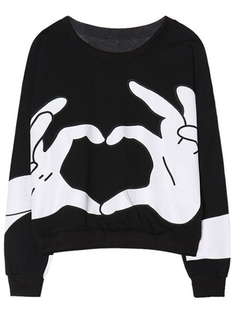 outfit Gesture 3D Print Funny Sweatshirt - BLACK ONE SIZE Mobile