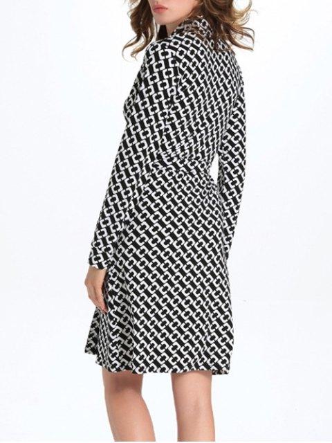 trendy Geometric Print Long Sleeve Midi Wrap Dress - WHITE AND BLACK L Mobile