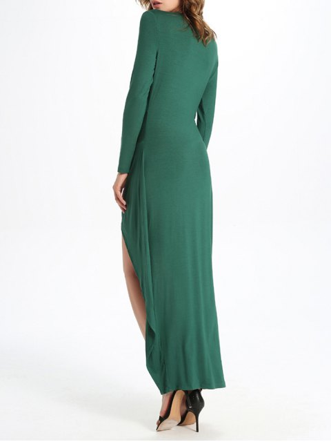 unique Draped High Low Dress - GREEN L Mobile