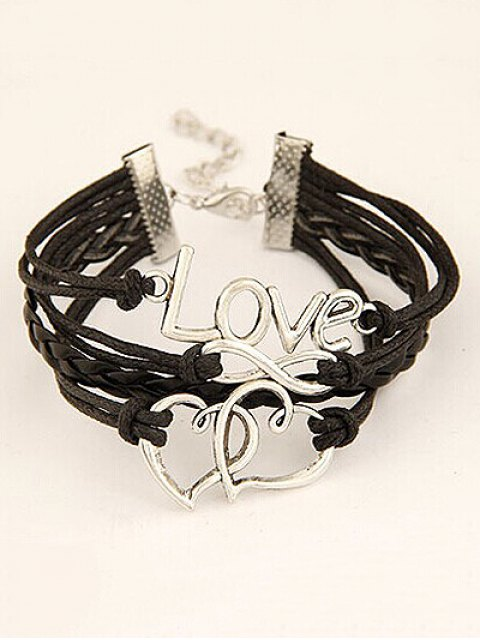 women Interlink Heart Braided Bracelet - BLACK  Mobile