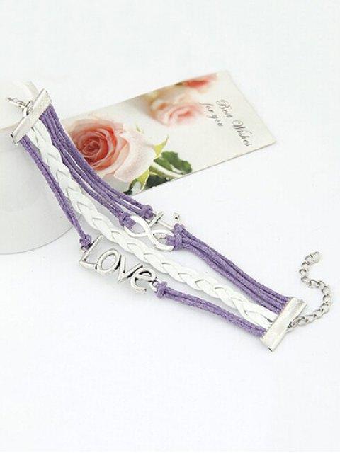 online Love Anchor Braided Bracelet - LIGHT PURPLE  Mobile