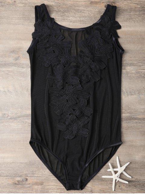 latest See-Through Applique Black Teddies - BLACK M Mobile