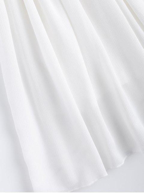 lady Lace Splice V Neck Chiffon Dress - WHITE L Mobile