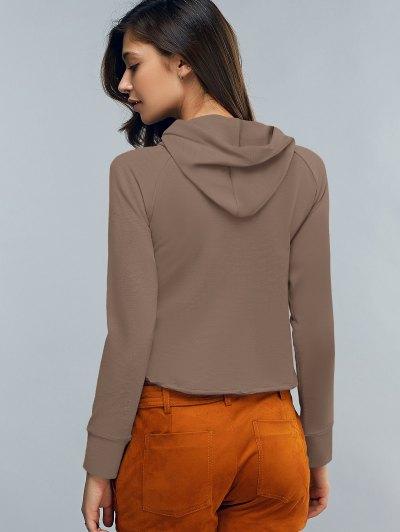 Cropped Hooded Long Sleeve Pullover Hoodie - COFFEE M Mobile