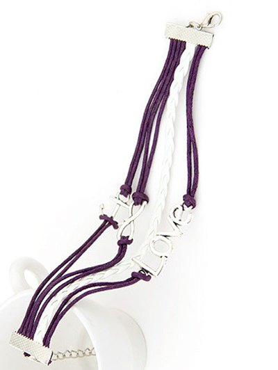 Anchor Layered Bracelet - PURPLE  Mobile