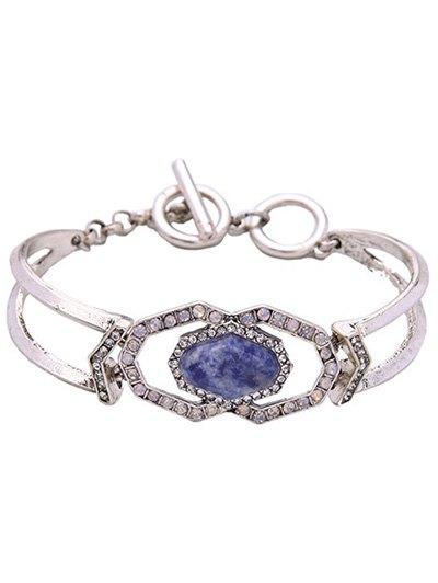 Faux Gemstone Geometric Bracelet - SILVER  Mobile