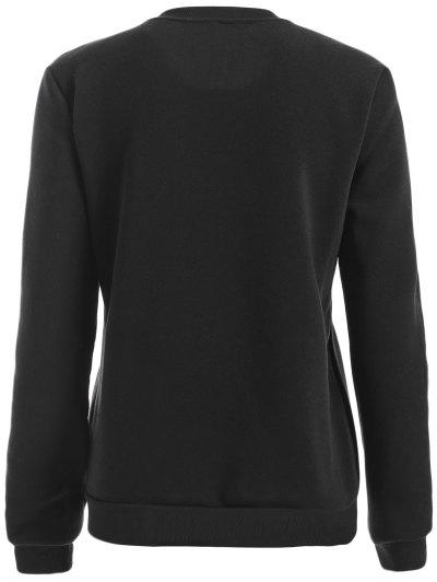 Round Neck Letter Print Sweatshirt - BLACK L Mobile