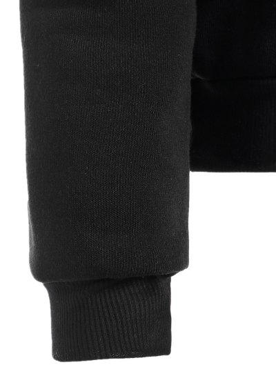 Round Neck Letter Print Sweatshirt - BLACK M Mobile