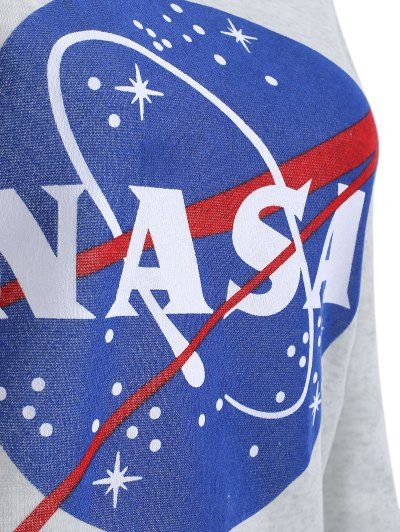 Round Neck Galaxy Print Sweatshirt - LIGHT GRAY XL Mobile