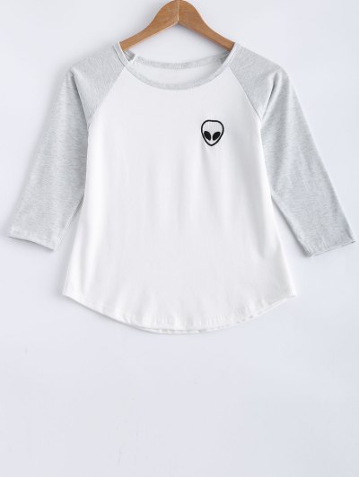 Raglan Sleeve Skull Print Color Block T-Shirt - Light Gray