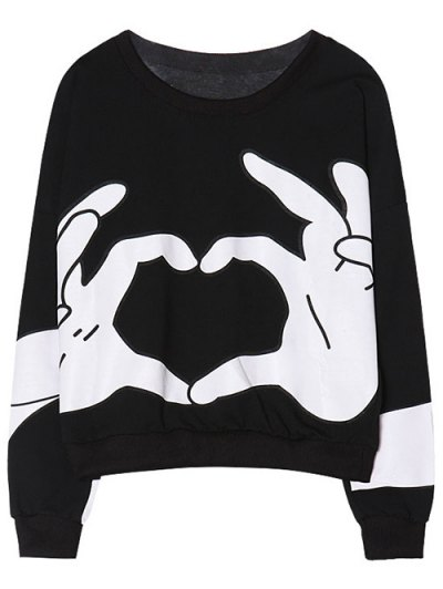 Gesture 3D Print Funny Sweatshirt - BLACK ONE SIZE Mobile