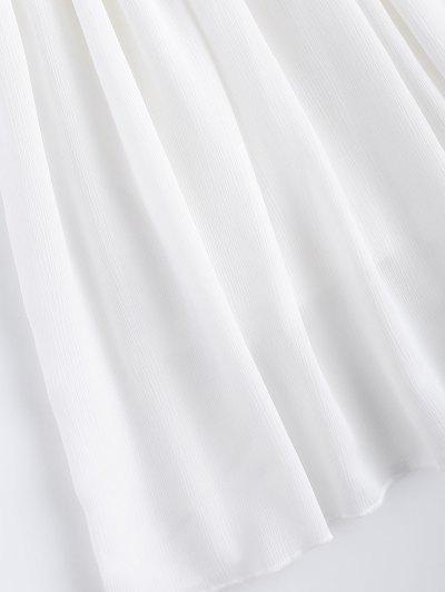 Lace Splice V Neck Chiffon Dress - WHITE L Mobile