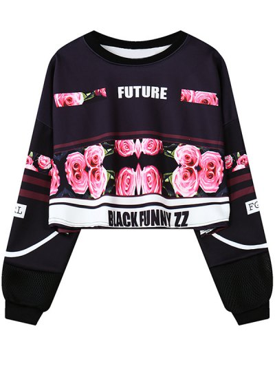 Floral Letter Print Cropped Sweatshirt - BLACK ONE SIZE Mobile