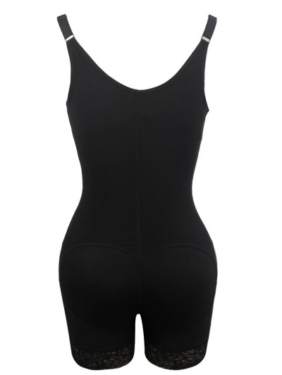Straps Backless Zip Up Full Body Corset - BLACK M Mobile