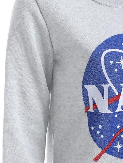 Round Neck Galaxy Print Sweatshirt - LIGHT GRAY L Mobile