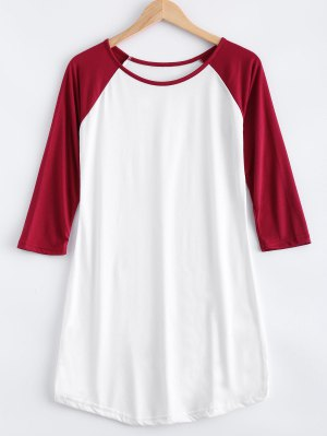 Raglan Sleeve Color Block T-Shirt Dress - White