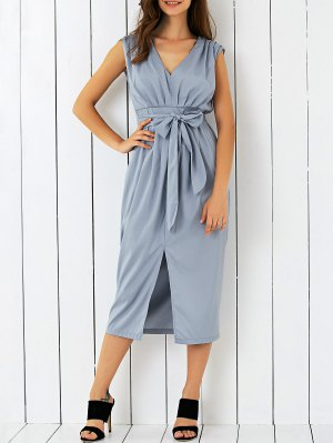 V Neck Belted Midi Dress - Gray
