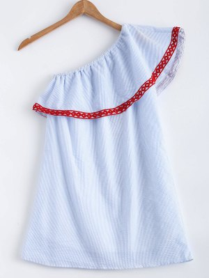 Polka Dot Striped One Shoulder Dress - Light Blue