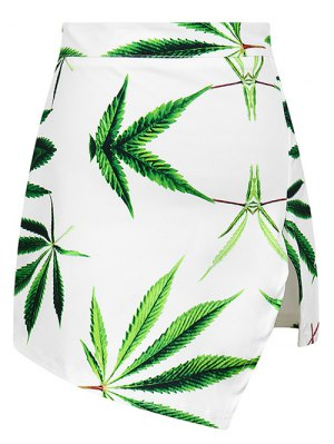 Leaf Print Asymmetric Slit Skirt - White