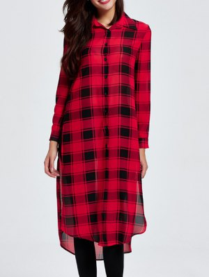 Side Slit Checked Shirt Collar Long Sleeve Shirt - Red