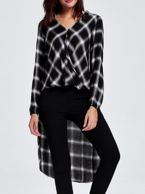 High-Low Checked Shirt Collar Long Sleeve Shirt - Black