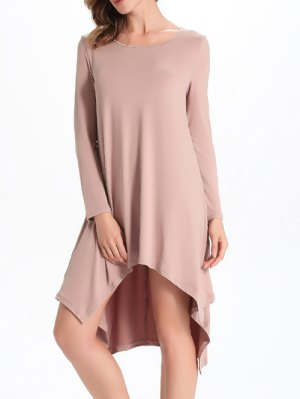 Loose High-Low Round Neck Long Sleeve Dress - Nude