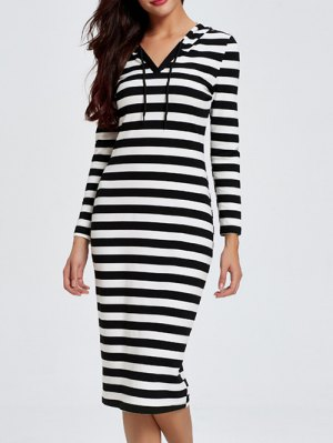 Hooded Striped Midi Dress With Sleeves - Black