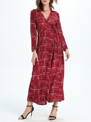 Maxi Wrap Long Sleeve Dress - Red